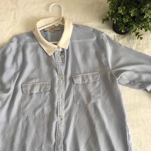 Loft Long Sleeve Button Down Blue Work Blouse